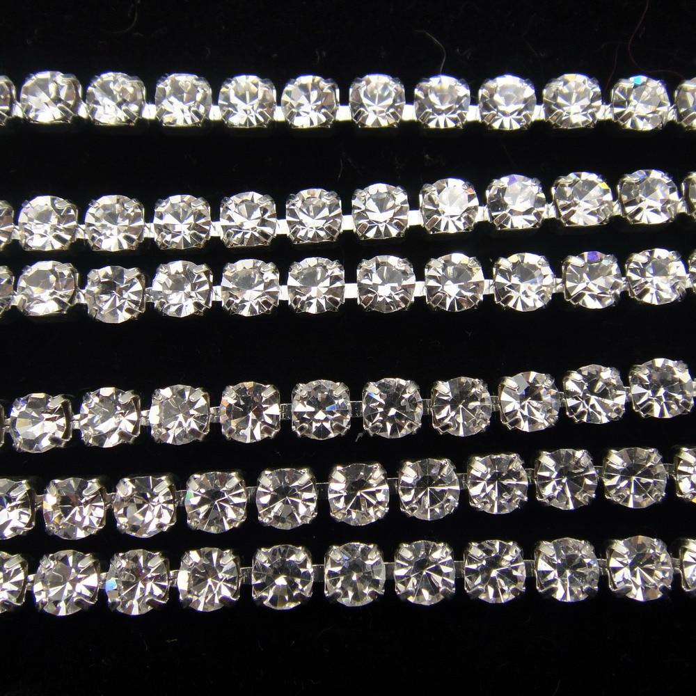 2mm Amethyst Purple Rhinestone Chain Brass Setting 14PP Cup Chain Czech Crystals