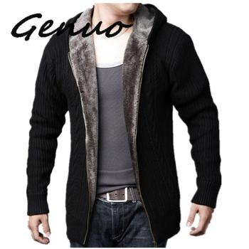 Vintage Zipper Cardigan Sweater Men Winter Thick Wool Knitted Casaco Masculino Slim Cashmere Fleece Sweater Tricot Hooded Coat