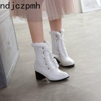 Botas de mujer nuevo invierno moda de encaje de felpa medio tacón medio tubo zapatos de mujer talla grande 33 -48 Altura del tacón 6cm negro blanco