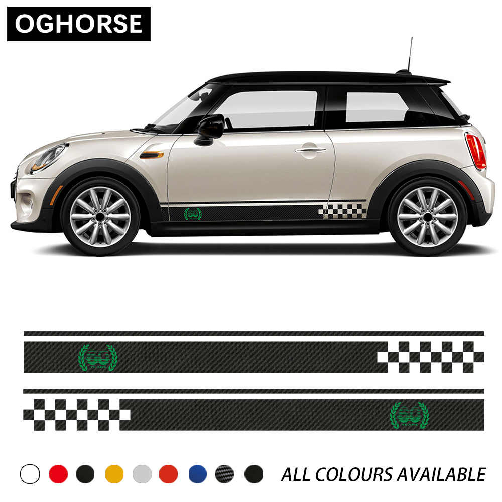 2 Pcs Car Door Side Stripes Sticker 60th anniversary Styling Body Decal For MINI Cooper S F54 F55 F56 F57 F60 Countryman Clubman