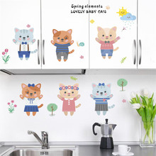 Cats Flower Tree wall stickers For Kids Rooms Children Bedroom wall Decal Cartoon home decoration Nursery room decor cute pandas tree pattern wall stickers for children s bedroom decoration