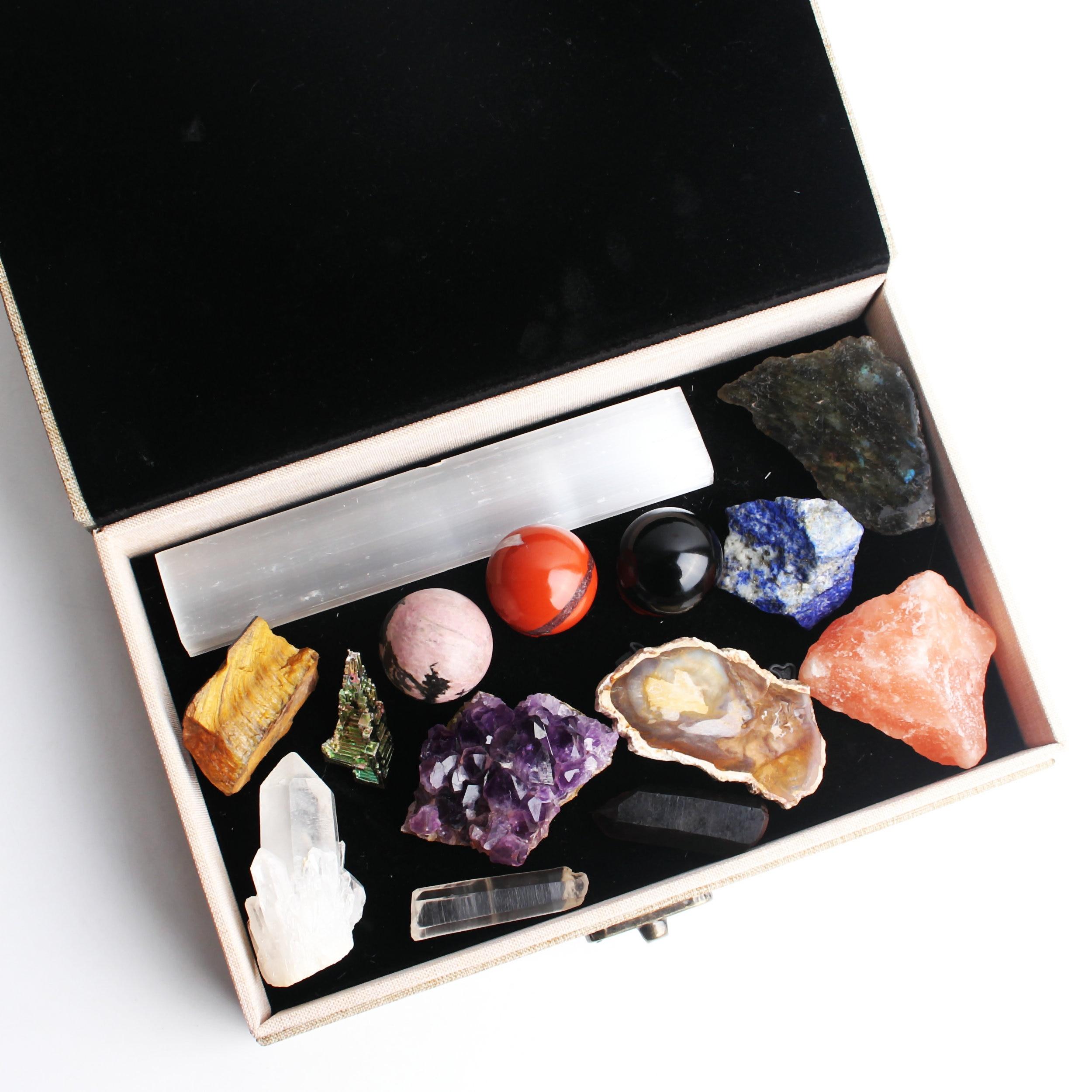 14 Uds. Piedras de cristal naturales bola de cristal racimo amatista original mineral espécimen de piedra reiki curación caja de regalo BAMOER, moda nueva, Plata de Ley 925 auténtica, Mystery Ocean Charms Beads fit, pulseras de encanto para mujeres, joyería de piedra DIY SCC246