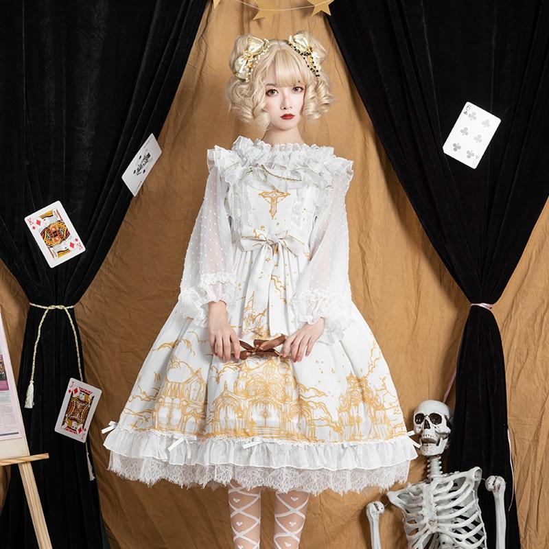 lolita sun moon church jsk dress high waist printing victorian dress kawaii girl gothic lolita jsk loli preppy style student