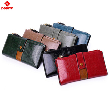 Fashion Women Wallets long Polish Leather Wallet Double Zipp