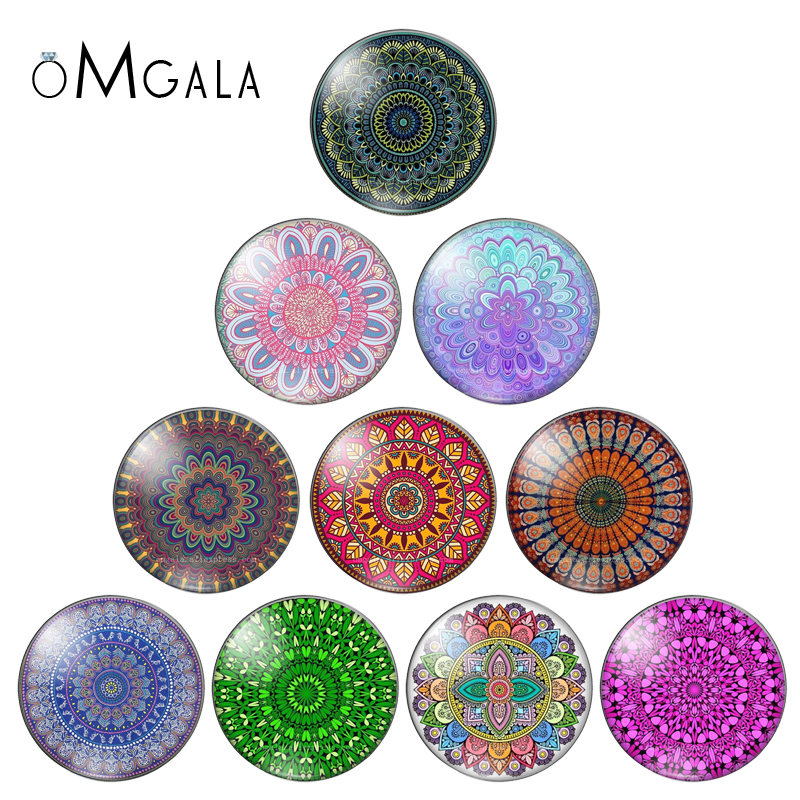 10Pcs Round 10mm/12mm/14mm/18mm/20mm/25mm/30mm Cabochon Mix Image Flower Mandala Glass Demo Cabochon Stone For Jewelry Makings