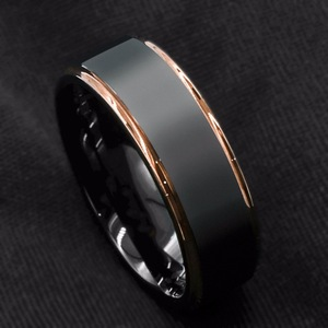 CHUHAN New Tungsten Carbide Ring Rose Gold Black Brushed Wedding Band Men's Ring for Party Wedding Jewelry Accessories