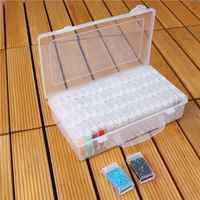 64 Slots Bottles Diamond Painting Storage Box Plastic Rhinestone Holder Diamond Painting Boxes Cross Stitch Cases Organizer