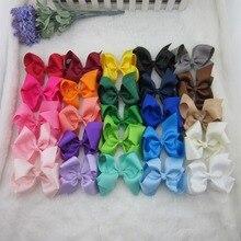 XIMA 50 шт./лот 25 цветов 4 дюймовая атласная лента бантики для волос с зажимом для детей аксессуары для волос