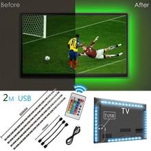 5V 50CM 1M 2M tira de luz LED USB de Cable de la lámpara SMD 5050 RGB 24KEY RGB IR lámpara de Control remoto para iluminación de fondo de TV