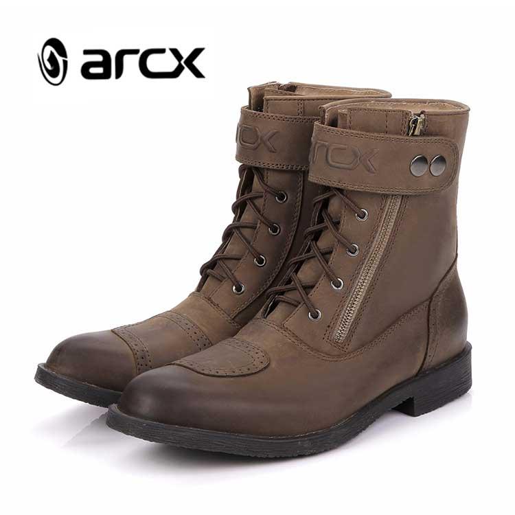 ARCX Motorrad stiefel Casaul stiefel Winddicht Echt leder L60553 Mode stiefel Cruiser Touring Biker Vintage Freizeit Schuhe