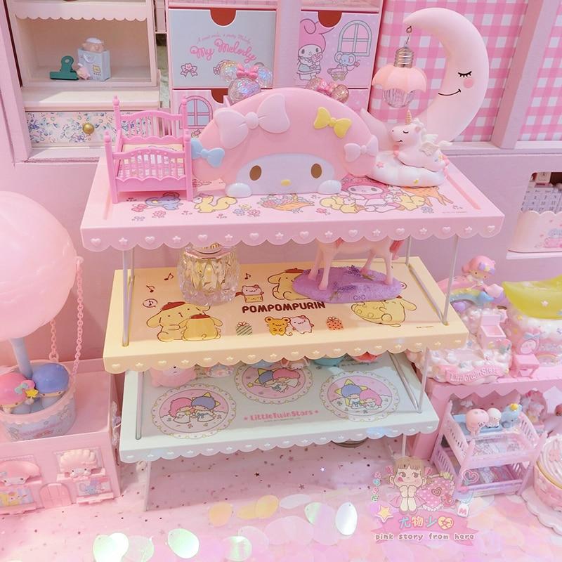 Cartoon Hello Kitty My Melody Pom Pompurin Little Twin Stars Cute Cosmetic Bags Folding Storage Rack Bag Toy Cosmetic Organizer