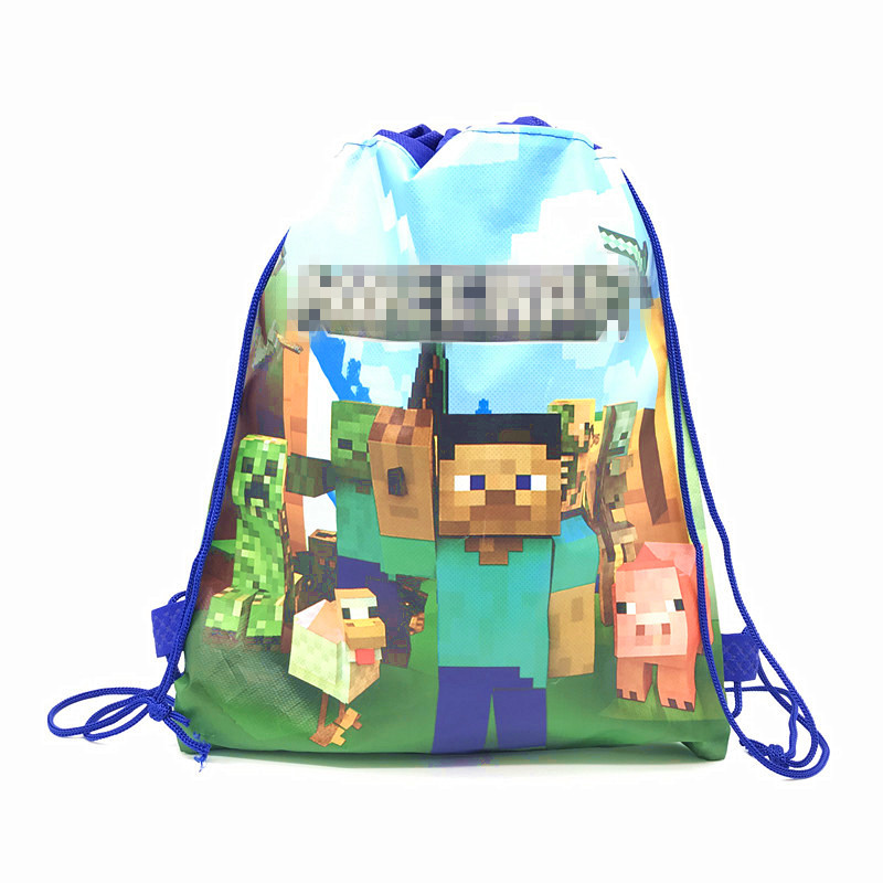 High Quality Mining Pixel GameTheme Drawstring Bags Kid Cotton Travel Pouch Storage Clothes Shoes Bags School Portable Backpack