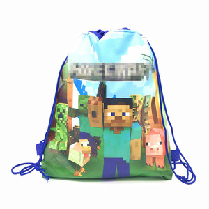High Quality Mining Pixel GameTheme Drawstring Bags Kid Cotton Travel Pouch Storage Clothes Shoes Bags School Portable Backpack(China)