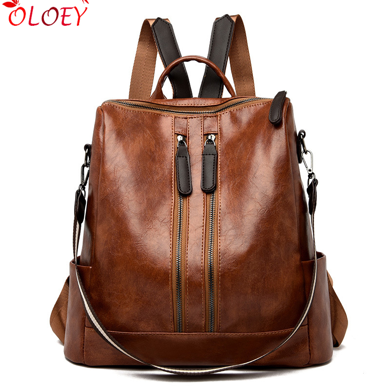 Vintage Double Zipper Women Leather Backpack Female Multifunction Bagpack School Bags For Teenage Girls Mochilas Mujer Back Pack