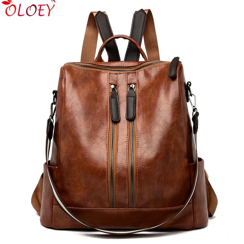 Vintage Double Zipper Women Leather Backpack Female Multifunction Bagpack School Bags For Teenage Girls Mochilas Mujer Back Pack