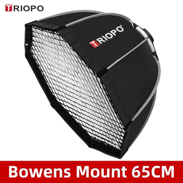 Triopo K65 65cm fotoğraf taşınabilir Bowens dağı sekizgen şemsiye Softbox + petek ızgara açık yumuşak kutu stüdyo flaş ışığı için