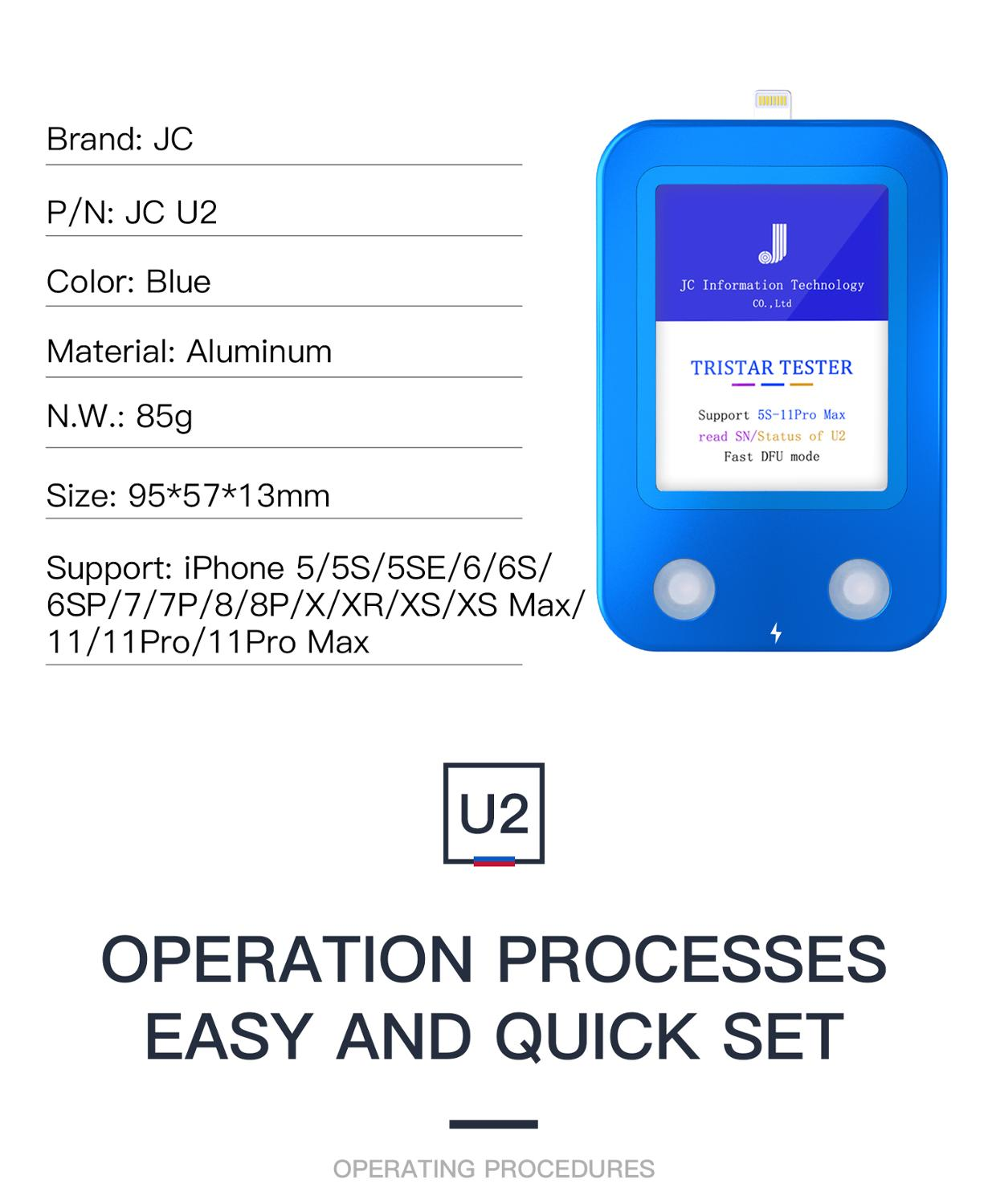 JC U2 Fast Tester U2 IC Charge IC Fault SN Serial Number Reader for iPhone SN Serial Number Test Tool