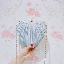 Heart-Shaped Bag Clutch Bag Female Small Bag Pleated Foreign Style Bag All-match 2019 New Style Cross-Body Dress Ladies' Bag(China)