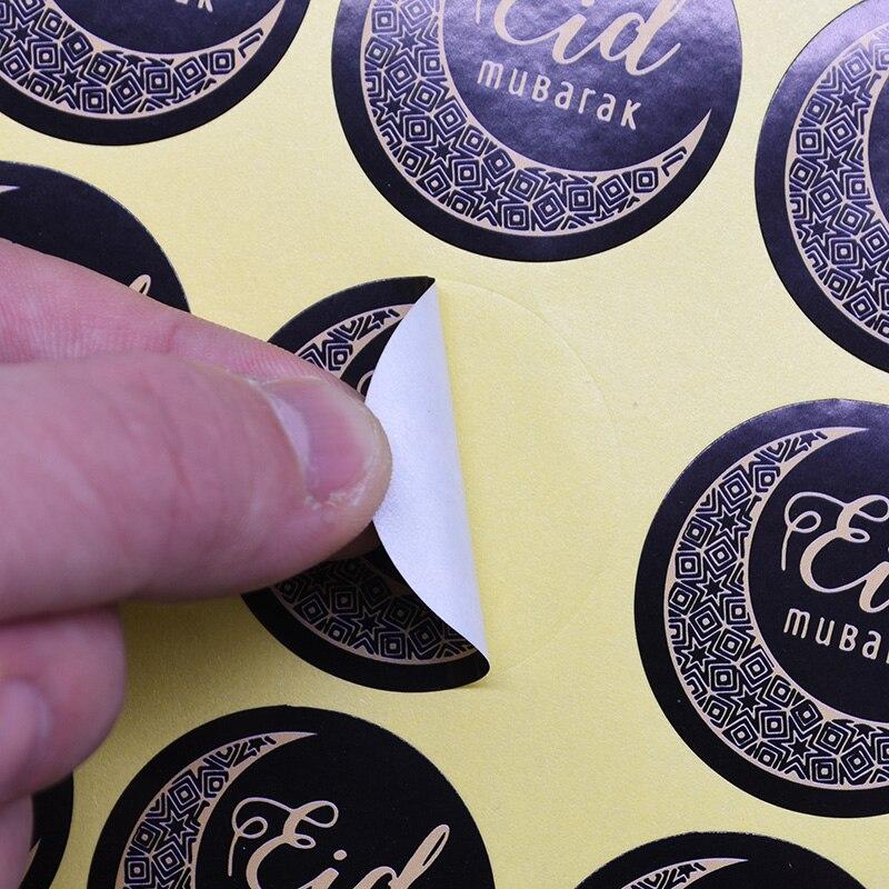 60pcs EID MUBARAK Gift Food Decorative Sticker Cookies Paper Gift Stickers Label Happy Ramadan Mubarak Muslim Party Decoration