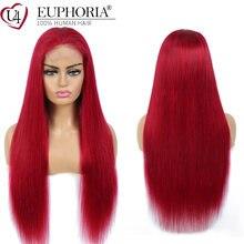 Бург красные прямые волосы кружевные парики бразильские remy