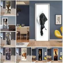 Животные дверные наклейки домашний декор дверная оболочка настенная