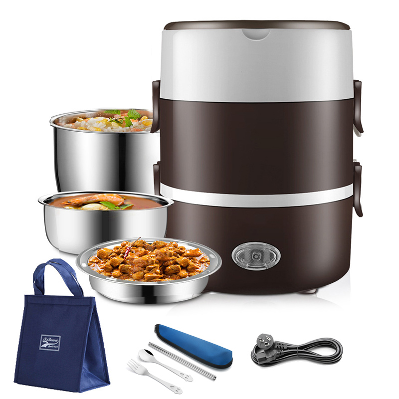 2 3 Layer 220V Electric Lunch Box Stainless Steel Food Heater Container Heating Warmer Mini Bento Rice Cooker Office Portable