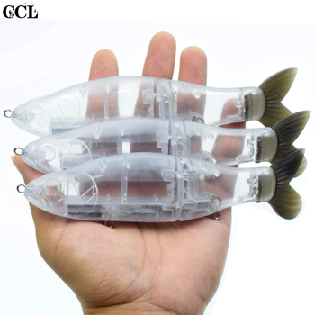 CCLTBA 6.5inch Megnetic Weight Unpainted Glide Lure Fishing Bait Blank Transparent Soft Tail Slide Swimbait  Fishing Tackle