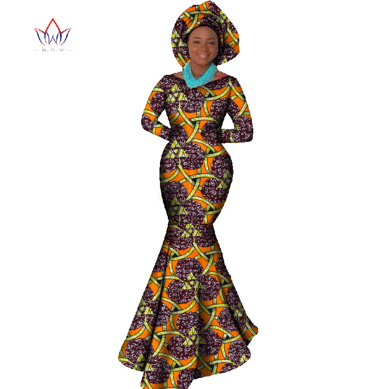 Африканская Женская одежда платье с длинным рукавом вечернее