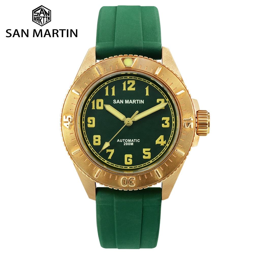 San Martin Diver Bronze Automatic Rotating Bezel Mens Mechanical Watch 200m Water Resistance Band Luminous DialSports Watches   -