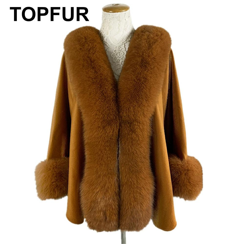 TOPFUR 2019 New Fashion Winter Female Cape Real Fur Cape For Women Three Quaeter Real Fox Fur Outerwear Bat Sleeved V-Neck Brown