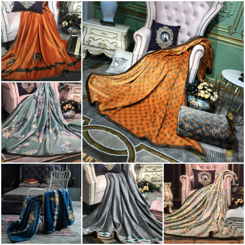 Luxury Flannel Printed Blanket Double-sided Thick Warm And Soft Multifunctional Blanket High Quality Decorative Throw Blanket