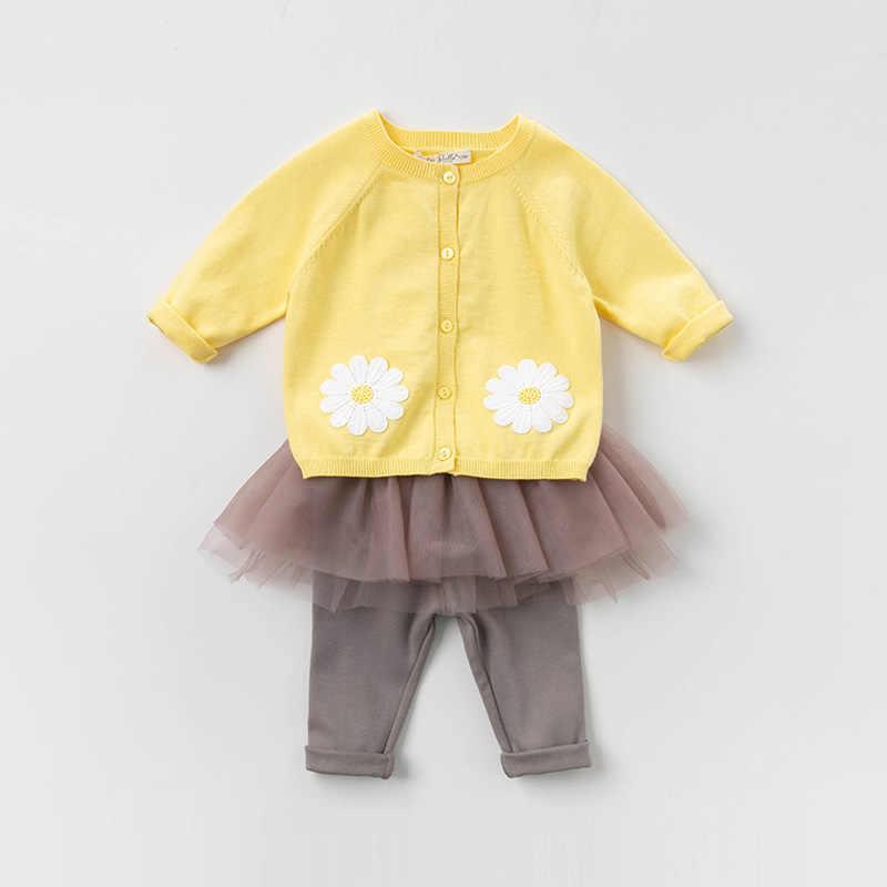 Db13365 데이브 벨라 봄 유아 아기 소녀 패션 꽃 카디건 아이 유아 코트 어린이 귀여운 니트 스웨터