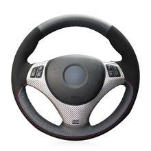 For BMW E90 320i E87 car steering wheel cover black genuine leather custom-made цена 2017