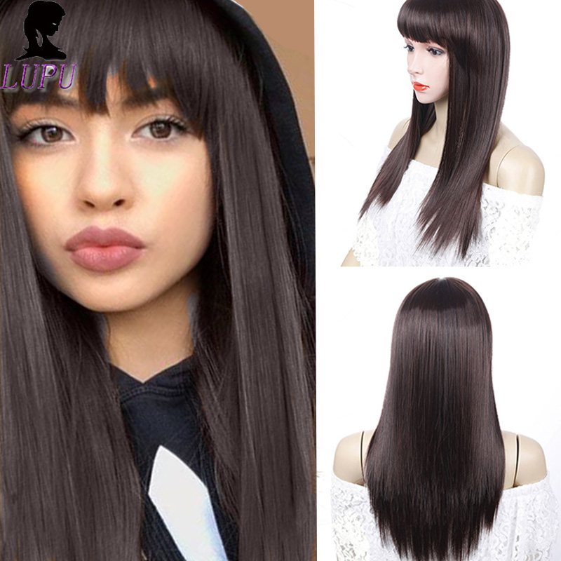 Long Brown Wigs With Bangs Cosplay Synthetic Natural False Hair For Black Women Silky Straight Heat Resistant LUPU WIG