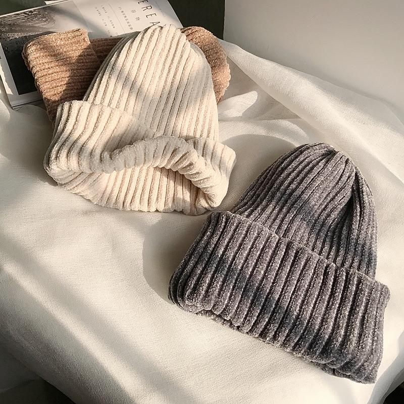 01912-27-tu  Winter Warm Snow Soft Chenille  Comfortable Feeling  Skullies Beanies  Cap Men Women Outdoor Leisure Hat