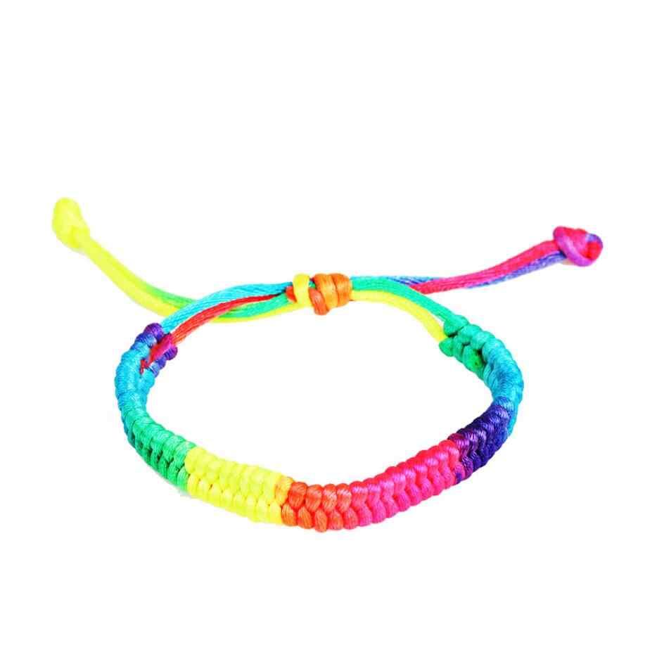 2 sztuk ręcznie tęczowe liny bransoletka dla kobiet mężczyzn liny nici plecione bransoletki bransoletki gejów bransoletka biżuteria akcesoria 2019