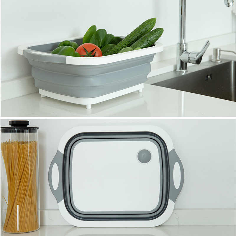 Multifunction Collapsible Cutting Board Dish Tub Drain Basket Two in One Folding Chopping Board for Kitchen Outdoor Camping