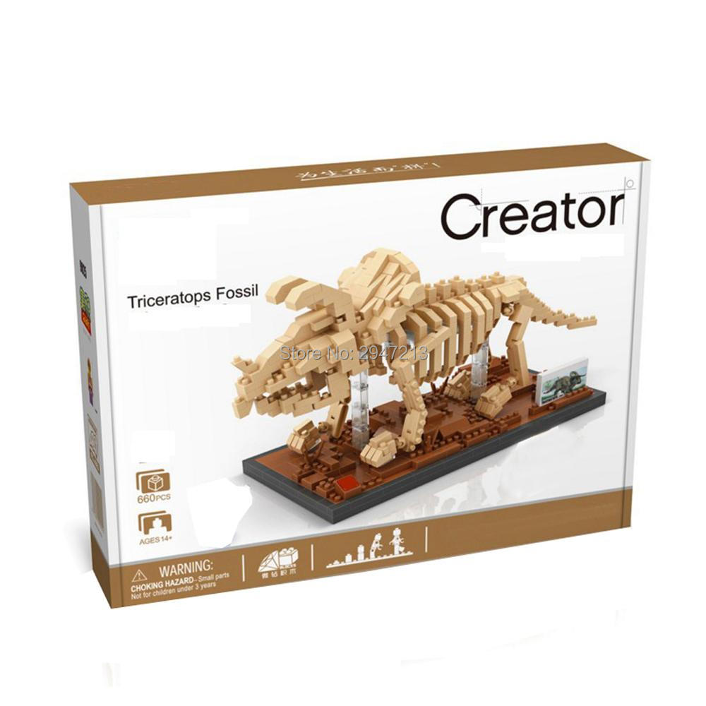 Hot LegoINGlys Creators Jurassic Dinosaur Fossil Triceratops Mini Micro Diamond Building Blocks Model Nano Bricks Toys For Gifts
