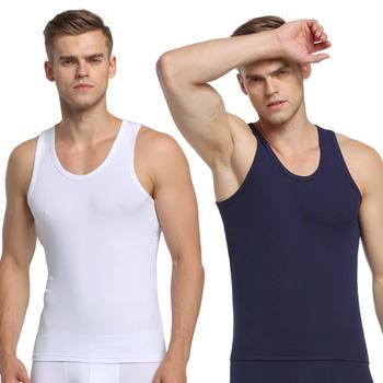ALANSHOW 2 sztuk męska Tank moda z najwyższej półki lato styl bez rękawów podkoszulki męskie bezrękawnik do kulturystyki Casual modalna kamizelka topy tanie i dobre opinie ALANSHOW 阿郎说 Men`s Modal Vest NO2 Modalne spandex
