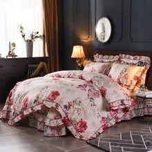 خمر نمط الأزهار كشكش سستة حاف الغطاء غطاء سرير المخدة خفيفة الوزن ستوكات أطقم أغطية أسرة ناعمة الملكة حجم 4 قطعة