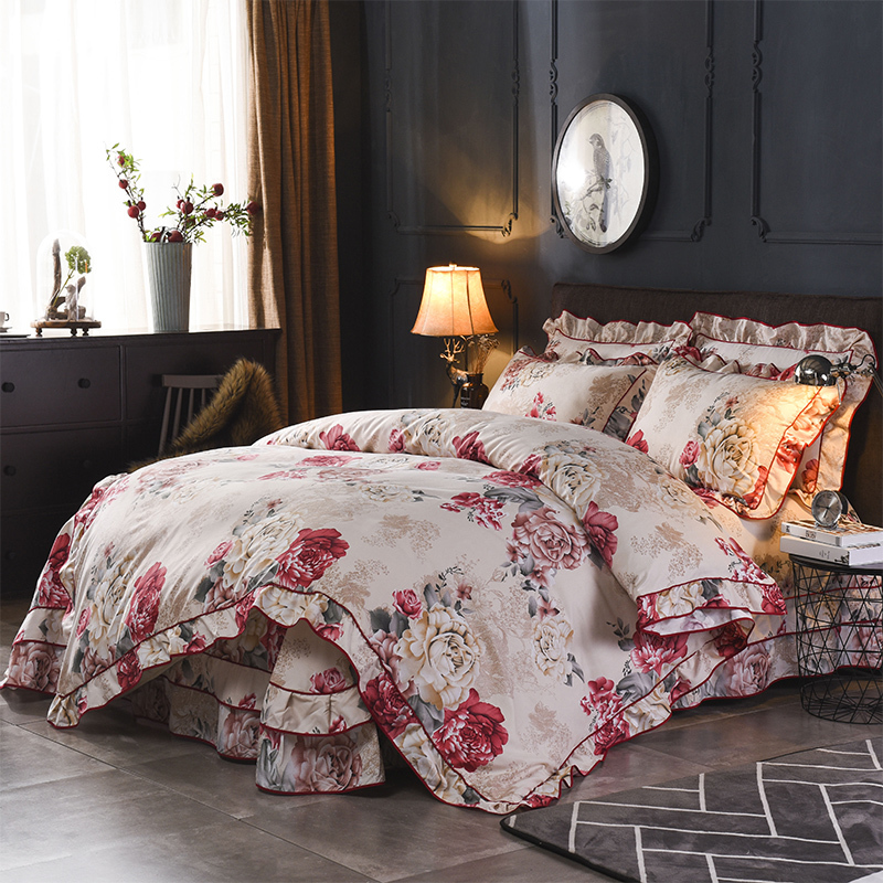 Vintage Style Floral Ruffle Zipper Duvet Cover Bed Sheet Pillowcase Lightweight Microfiber Soft Bedding Sets Queen Size 4Pcs
