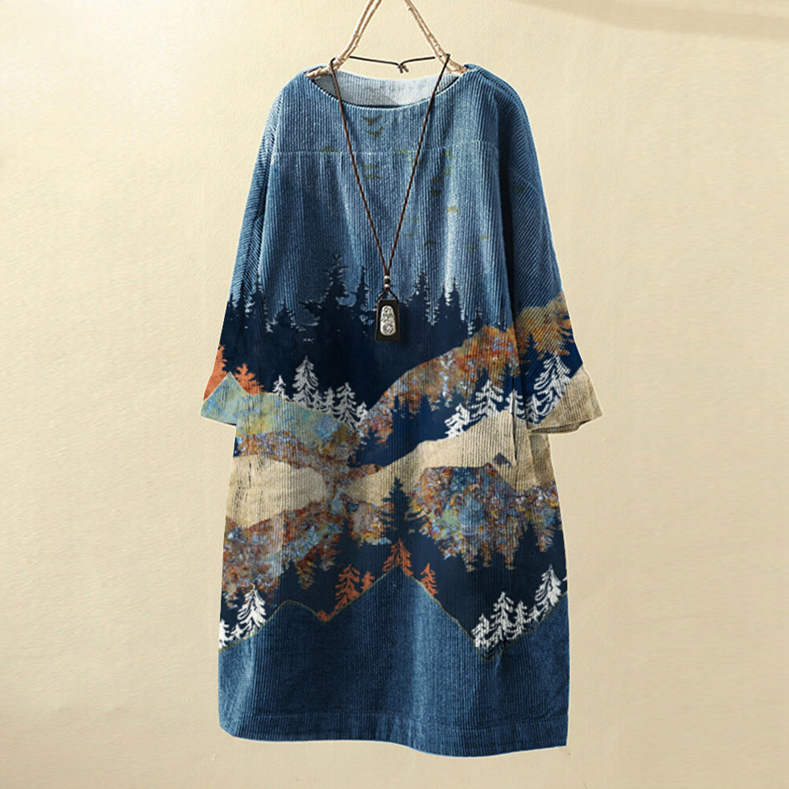 Women Vintage Pockets Dresses Corduroy Harajuku Clothes Landscape Print Long Sleeve Clothing Loose
