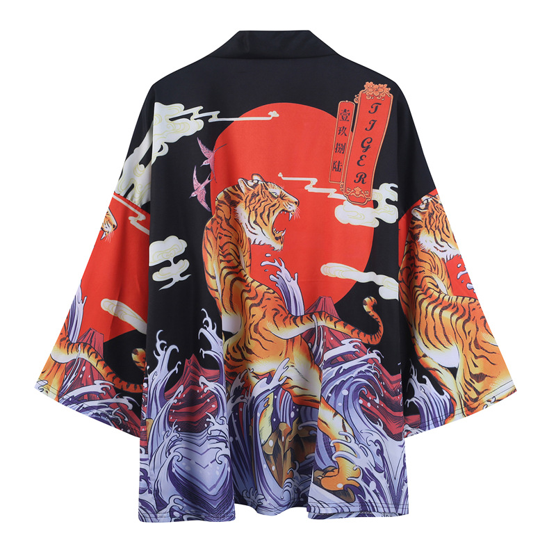 Kimono Traditional Men Women Loose Coat Seven-quarter Sleeve Caidigan Printing Crane Sunscreen Japan Clothes Yukata Kimono New