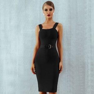Image 3 - Seamyla 2020 nowa sukienka bandaż kobiety bez rękawów impreza celebrytów sukienki Sexy wino czerwone czarne morele Vestido wyjściowa sukienka klubowa