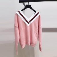 Autumn Winter Womens Sweater Loose Warm Pullovers Sweater Pink Sweaters Women Loose Knitted Female V neck Small Fresh Sweater