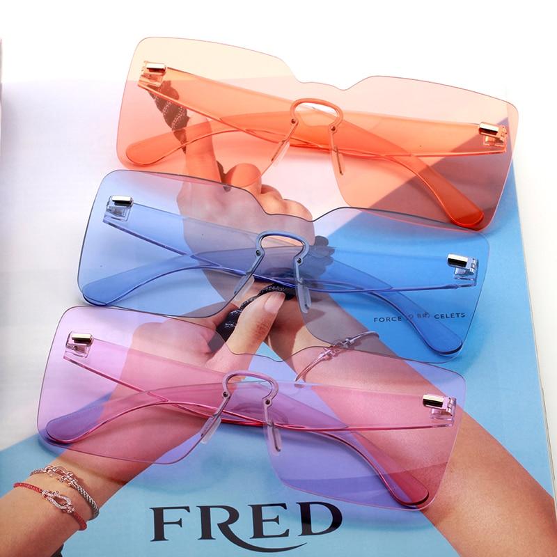 Oversized Square Sunglasses Women 2020 Yellow Orange Green Blue Big Large Rimless Frameless Eyeglasse Wholesale Trending Product