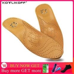 KOTLIKOFF Высокое качество кожа ортопедические стельки для плоских поддержка свода стопы 25 мм ортопедические силиконовые стельки для мужчин и
