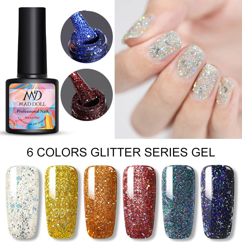 MAD DOLL 8ml Gel Nail Polish Glitter Bling Sparkling Varnish Colorful Sequins Long Lasting Soak Off UV Gel Nail Varnish