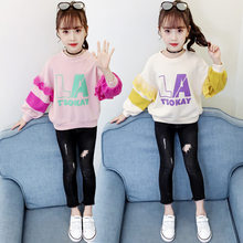 New Fashion Petal Sleeve Sweatshirts for Girls Letter Print Flower Long Top Girl 12 Years to 4 Old