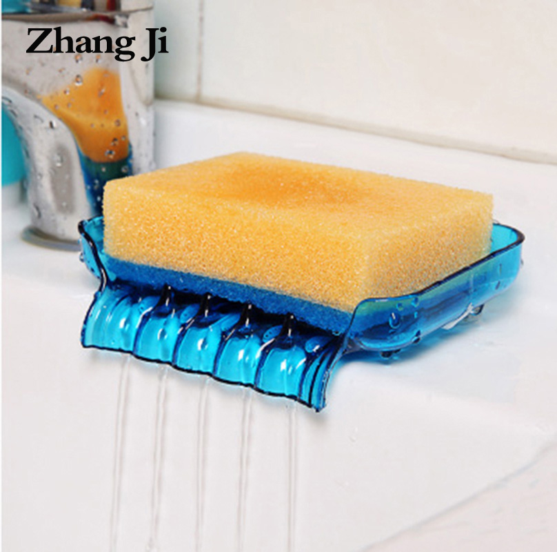 ZhangJi Free Shipping Kitchen Soap Dish 4 Colors Bathroom Water Drainer Soap Box Suction Cup Plastic Soap storage Holder ZJ121